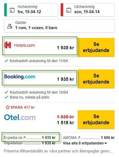 Expedia - TripAdvisor - Search from Sweden
