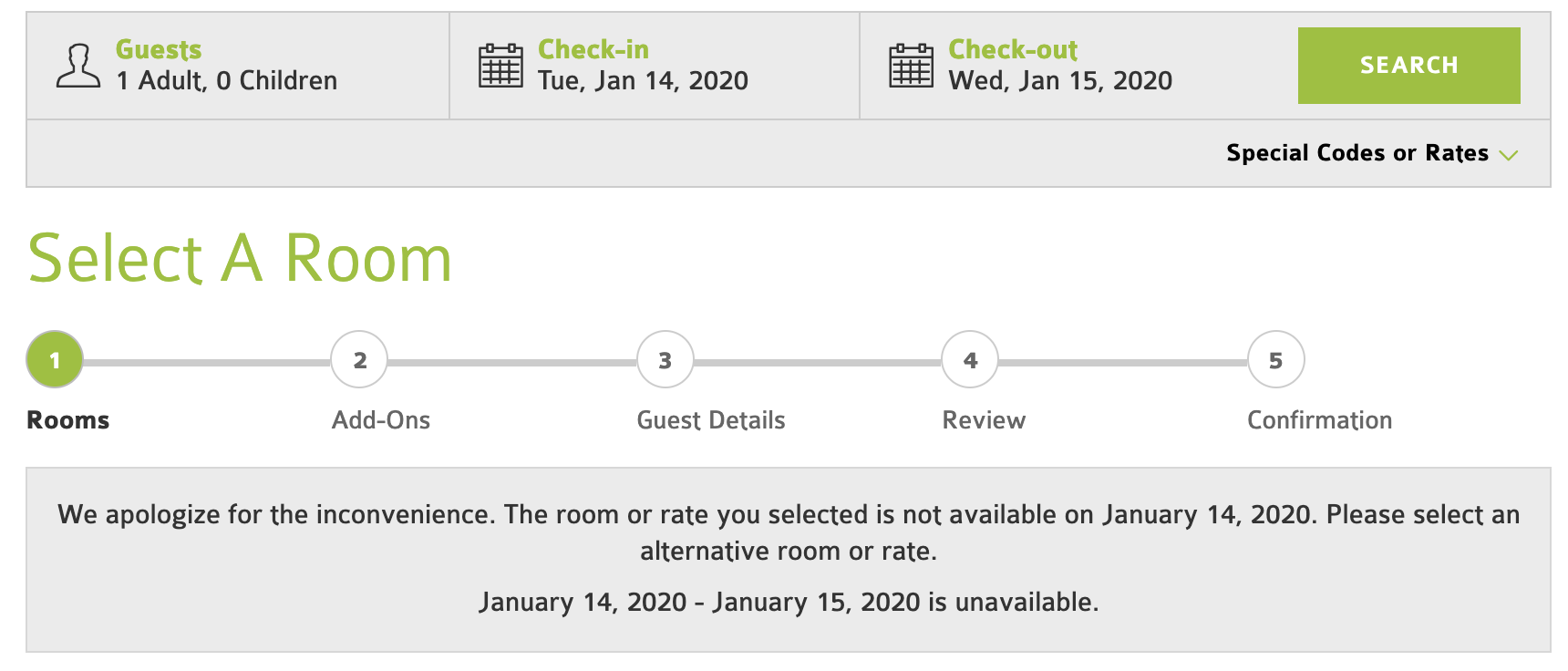 No Availability Messages: dates are not available