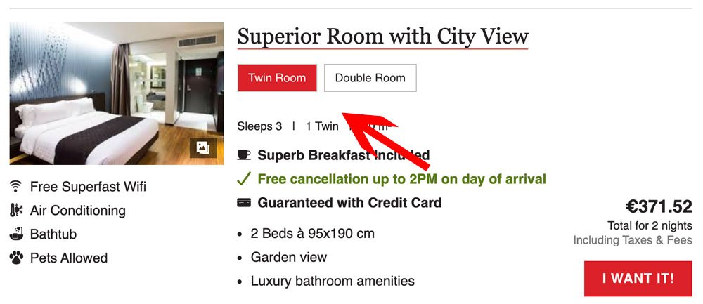 Sinxys Booking Engine: same room type with different bedding.